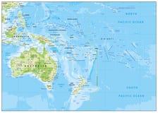 Mapa de alivio de Oceanía stock de ilustración