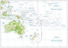 Mapa de alivio de Oceanía en blanco ilustración del vector