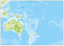 Mapa de alivio en blanco de Oceanía ilustración del vector