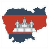 Mapa de alta resolución de Camboya con la bandera nacional libre illustration