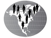 Mapa de América com silhuetas Foto de Stock Royalty Free