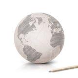 Mapa de América da máscara no globo de papel Fotos de Stock Royalty Free