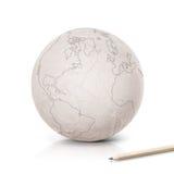 Mapa de América do curso no globo de papel Imagens de Stock Royalty Free