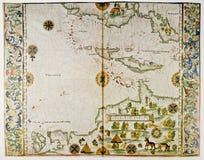 Mapa de América e de Índias Ocidentais fotos de stock royalty free