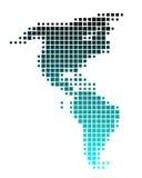 Mapa de América em quadrados de turquesa Fotografia de Stock Royalty Free