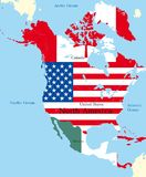 Mapa de America do Norte Imagem de Stock Royalty Free