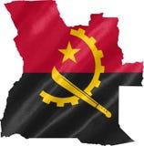 Mapa de Angola con la bandera stock de ilustración