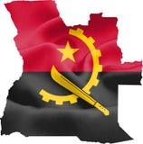 Mapa de Angola con la bandera ilustración del vector