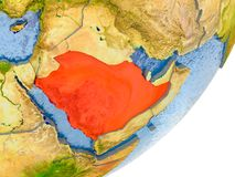 Mapa de Arábia Saudita na terra Fotografia de Stock Royalty Free
