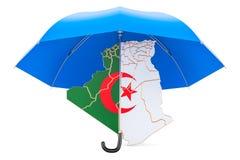Mapa de Argel sob o guarda-chuva A segurança e protege ou o seguro co Imagens de Stock