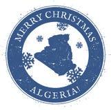 Mapa de Argelia Feliz Navidad Argelia del vintage ilustración del vector