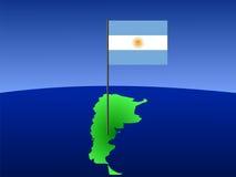 Mapa de Argentina com bandeira Imagens de Stock