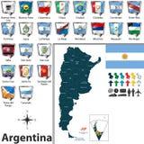 Mapa de Argentina com bandeiras ilustração stock