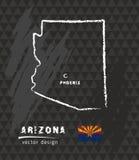 Mapa de Arizona, ejemplo del vector del bosquejo de la tiza ilustración del vector