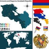 Mapa de Armenia y de Nagorno Karabakh Fotos de archivo libres de regalías