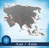 Mapa de Asia Imagen de archivo libre de regalías