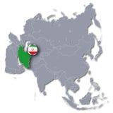 Mapa de Asia con Irán Fotografía de archivo libre de regalías