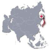 Mapa de Asia con Japón Fotos de archivo