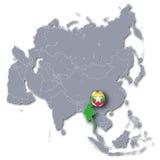 Mapa de Asia con Myanmar Fotografía de archivo