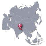 Mapa de Asia con Nepal Imagenes de archivo