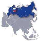 Mapa de Asia con Rusia ilustración del vector
