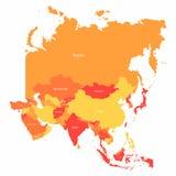 Mapa de Asia del vector con las fronteras de los países Países rojos y amarillos abstractos de Asia en mapa libre illustration