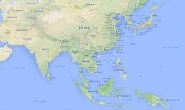 Mapa de Asia en la alta revolución 2 Imagen de archivo