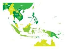 Mapa de Asia sudoriental Mapa del vector en sombras del verde libre illustration