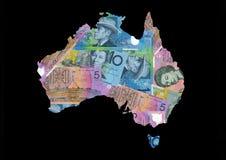 Mapa de Austrália com dólares Foto de Stock Royalty Free