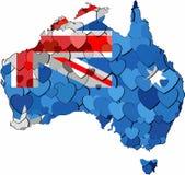 Mapa de Austrália feito do fundo dos corações ilustração stock