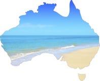 Mapa de Austrália que mostra o Sandy Beach aberto largo vasto Fotos de Stock