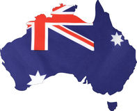 Mapa de Australia con el fondo de la bandera fotografía de archivo libre de regalías