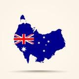 Mapa de Australia en colores de la bandera de Australia Imagen de archivo