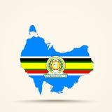 Mapa de Australia en colores de la bandera de la comunidad africana del este Imagen de archivo libre de regalías