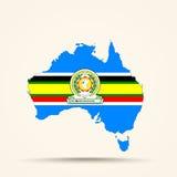 Mapa de Australia en colores de la bandera de la comunidad africana del este Fotografía de archivo libre de regalías