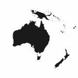 Mapa de Australia y de Oceanía Icono monocromático de Australia ilustración del vector