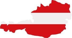 Mapa de Austria con la bandera ilustración del vector