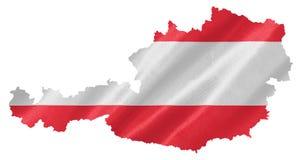 Mapa de Austria con la bandera fotografía de archivo