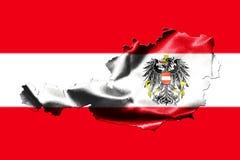 Mapa de Austria con la bandera nacional Imágenes de archivo libres de regalías