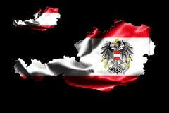 Mapa de Austria con la bandera nacional Imagen de archivo