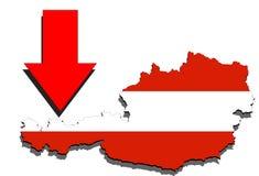 Mapa de Austria en el fondo blanco y la flecha roja abajo Imagen de archivo libre de regalías