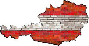 Mapa de Austria en una pared de ladrillo Fotos de archivo libres de regalías