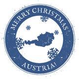 Mapa de Austria Feliz Navidad Austria del vintage stock de ilustración