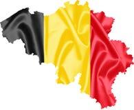 Mapa de Bélgica com bandeira fotos de stock royalty free