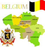 Mapa de Bélgica com suas províncias. Fotografia de Stock Royalty Free
