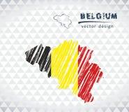 Mapa de Bélgica con el mapa de bosquejo dibujado mano dentro Ilustración del vector ilustración del vector