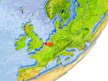 Mapa de Bélgica na terra Imagens de Stock Royalty Free