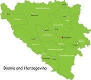 Mapa de Bósnia e de Herzegovina Fotos de Stock Royalty Free