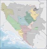 Mapa de Bósnia e de Herzegovina Imagem de Stock Royalty Free