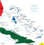 Mapa de Bahamas Ilustração Royalty Free